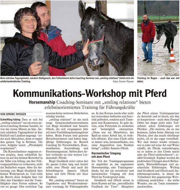 Kommunikations-Workshop mit Pferd - Landsberger Tageblatt